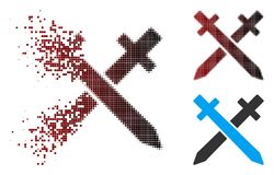 Moving Pixel Halftone Crossing Swords Icon. Vector crossing swords icon in dispersed, dotted halftone and undamaged whole variants. Disintegration effect royalty free illustration