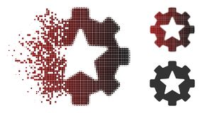 Moving Pixel Halftone Star Favorites Options Gear Icon. Vector star favorites options gear icon in dissolved, dotted halftone and undamaged solid versions royalty free illustration