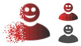 Moving Pixelated Halftone Smiled Man Icon. Smiled man icon in sparkle, pixelated halftone and undamaged solid variants. Pieces are organized into vector sparkle vector illustration