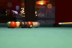 Moving pool balls motion blur stock images