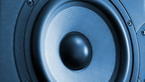 Moving professional music studio monitor. Close-up stock video footage