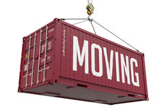 Moving - Red Hanging Cargo Container. Royalty Free Stock Image