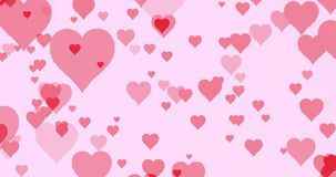 Moving Red Hearts Background. Moving red hearts on pink background stock footage