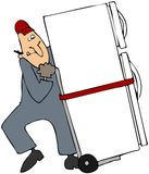 Moving A Refrigerator. This illustration depicts a worker moving a refrigerator with a dolly Stock Image
