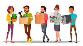 Moving, Relocation, Colleagues Changing Office Vector Characters. Workplace Relocation. New Workers Holding Cardboard Boxes Isolated Cliparts Set. Employees stock illustration