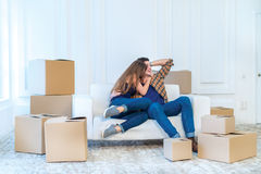 Moving, repairs, new keys to the apartment. Couple girl and the Stock Images