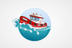 Moving rescue boat. Deep sea with wave. Round vector computer icons for applications or games. Logo and emblem template. Handdrawn. Illustration Royalty Free Stock Photo