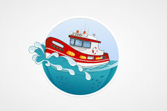 Moving rescue boat. Deep sea with wave. Round vector computer icons for applications or games. Logo and emblem template. Handdrawn Royalty Free Stock Image