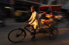 Moving rickshaw, gammala Delhi, Indien Fotografering för Bildbyråer