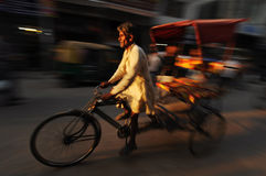 Moving rickshaw, Old Delhi, India Stock Image