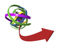 Moving in the Right Direction. Arrows on white background - 3D concept image stock illustration