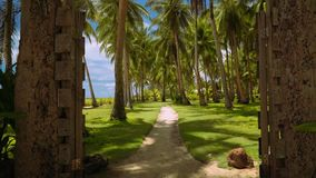 Moving through rustic gates to park with palm trees on lawn grass, Philippines. Camera moving through rustic gates to park with palm trees on lawn grass stock video footage
