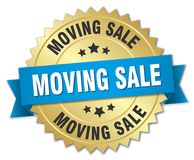 Moving sale badge. Moving sale round badge with ribbon Stock Photography