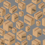 Moving seamless pattern. Lot of cardboard boxes background.. Paper packaging for things Royalty Free Stock Photography