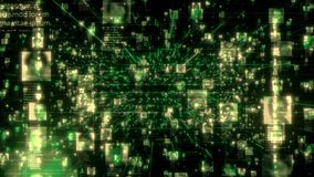 Moving through the searching stream of unrecognizable people portraits connected each other green colored network grid