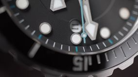 Moving second hand of a wrist watch. Macro shot. Clip stock footage
