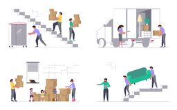 Moving truck with movers. Set of Concepts for Transport company isolated on white background. Moving truck with movers carring a sofa and cardboard boxes. Moving vector illustration