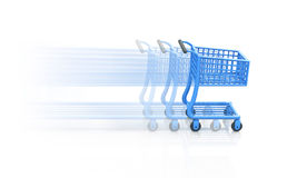 Moving shopping cart or basket. 3d illustration of blue shopping cart or trolley moving quickly with motion blur, white background Royalty Free Stock Image
