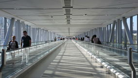 Moving sidewalk connection in Dubai Mall. Moving sidewalk connection the Burj Khalifa Metro Station and the Dubai Mall in Dubai, United Arab Emirates stock footage