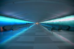 Moving sidewalks and a changing light show in the tunnel of the Detroit Airport, Detroit, Michigan Stock Photography