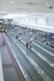 Moving sidewalks in the concourse of a major airport Stock Images