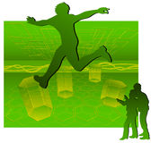 Moving silhouettes Royalty Free Stock Image