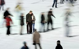 Moving Skaters - Lovers. It's an ordinary winter afternoon on the ice - with lovers Stock Photography