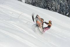 Moving snowmobile in winter forest in the mountains Stock Images