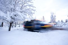 Moving Snowplow Stock Image