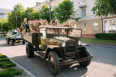 Moving Soviet WW2 Truck ZIS-5V, People Soldiers Uniform Take Part At Victory Day Parade 9 May Royalty Free Stock Photography