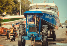 Moving speed boats in the boat yard Pattaya. Royalty Free Stock Images