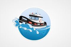 Moving speed police boat. Deep sea with wave. Round vector computer icons for applications or games. Logo template. Handdrawn Ill. Ustration Stock Photos