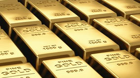 Moving stacks of gold bars stock footage