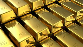 Moving stacks of gold bars stock video