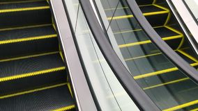Moving Stairs Empty Escalator Up and Down in the Shopping Mall. Closeup HD slowmotion. stock footage