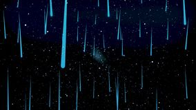 Moving through the stellar space, beautiful abstraction with cosmos falling blue stars, infinity concept. Animation. A stock illustration