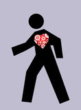 Moving Stickman with heart Royalty Free Stock Photos