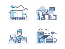 Moving and storage in warehouse. Line of icons set concept, Vector illustration Stock Photo