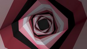 Moving through straight spiral color tunnel. Looped animation. Rotating color tunnel of square shape royalty free illustration