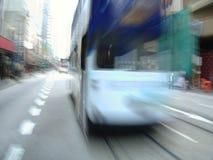 Moving streetcar in Hong-Kong, China Royalty Free Stock Image