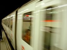 Moving Subway. Leaving the station with motion blur Royalty Free Stock Images
