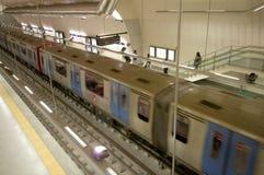 Moving subway train Stock Photo