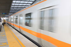 Moving subway train in beijing Royalty Free Stock Images