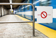 Moving subway train and Motion blur with Safety Interdiction Sig Stock Images