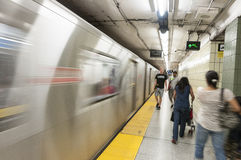 Moving subway train Stock Photo