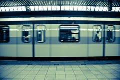 Moving Subway Train at the Station Royalty Free Stock Image