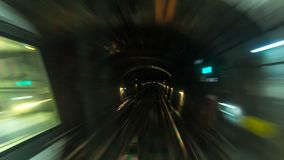 Moving through subway tunnel timelapse in Paris. Moving through subway tunnel with rails timelapse in Paris. Shot from metro train cabin stock footage