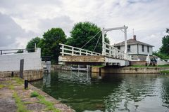 Moving a swing bridge aside royalty free stock image