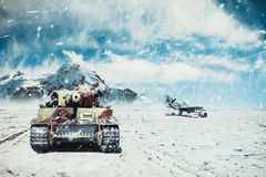 Moving tank on the background of combat aircraft Royalty Free Stock Image