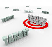 Moving Target Changing Plan Strategy Find Elusive Location. Moving Target 3d Words on a bullseye as an elusive location that keeps changing and you must find Royalty Free Stock Photos